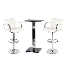 Spice Bar Table In Black Glass And 2 Glenn White Bar Stools