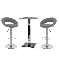 Spice Bar Table In Black Glass And 2 Leoni Grey Bar Stools