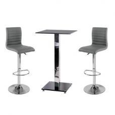 Spice Bar Table In Black Glass With 2 Grey Ripple Bar Stools