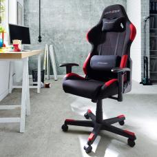 Sprint Fabric Home Office Chair In Black And Red With Castors