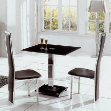 Ice Glass Dining Table Square With 4 Dining Chairs In Black