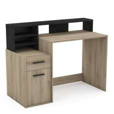 Maisie Wooden Computer Desk In Kronberg Oak And Sidewalk