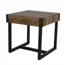 Stacey Wooden Square End Table With Black Metal Legs