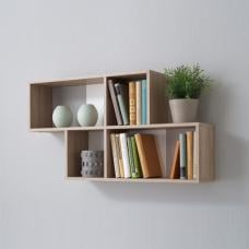 Stella Wall Mounted Display Shelf In Canadian Oak And White