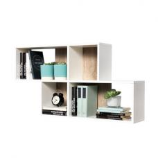 Stella Wall Mounted Display Shelf In White And Canadian Oak
