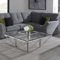 Stirling Square Glass Coffee Table Polished Stainless Steel Base