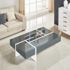 Storm Coffee Table In Grey And White High Gloss With 4 Drawers