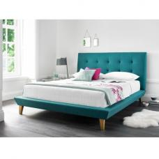 Stratus Fabric King Size Bed In Teal With Wooden Legs