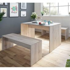 Stratus Dining Table In Sorrento Oak With 2 Dining Benches