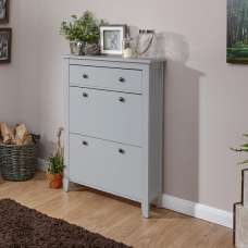Strado Wooden Shoe Cabinet In Grey With 2 Doors And 1 Drawer
