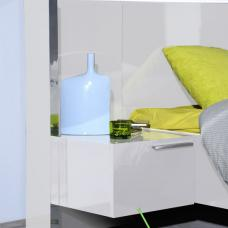 Sinatra White High Gloss Finish Right BedSide Table With Light