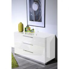 Sinatra White High Gloss Finish 3 Drawers Chest of Drawers