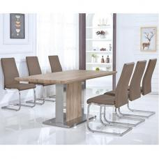 Sven Dining Table In Natural And Stainless Steel With 6 Chairs