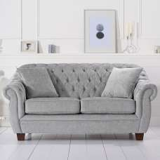 Sylvan Chesterfield Style Fabric 2 Seater Sofa In Grey Plush