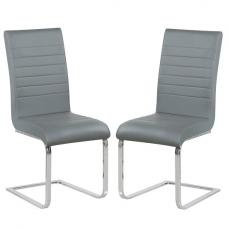 Symphony Dining Chair In Grey Faux Leather In A Pair