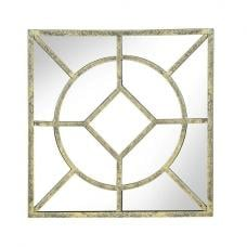 Symphony Contemporary Wall Mirror Square In Antique Gold