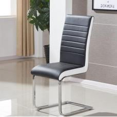 Symphony Dining Chair In Black And White PU With Chrome Base
