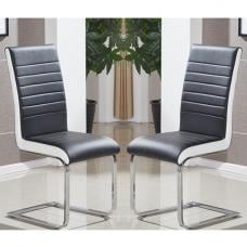 Symphony Dining Chair In Black And White PU In A Pair