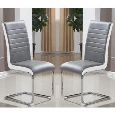 Symphony Dining Chair In Grey And White PU In A Pair