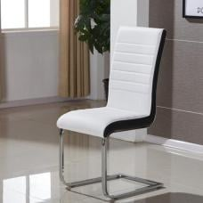 Symphony Dining Chair In White And Black PU With Chrome Base