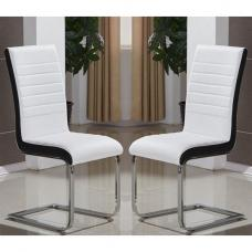 Symphony Dining Chair In White And Black PU In A Pair
