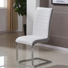 Symphony Dining Chair In White And Grey PU With Chrome Base