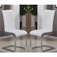 Symphony Dining Chair In White And Grey PU In A Pair