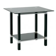 Round End Side Table In Black Glass Top