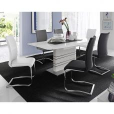 Modus White Extendable Dining Set And 4 Black 2 White Chairs
