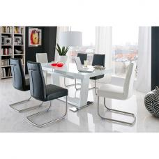 Manhattan Extendable Glass Dining Table In Gloss With 6 Chairs