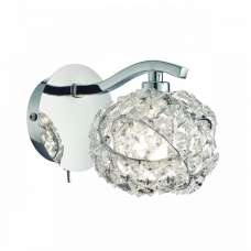Talia Crystal Glass Wall Light In Silver Finish