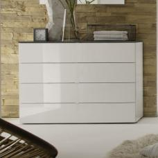 Jaxon Drawers Chest Wide In Glossy White Lacquer And Grey Top