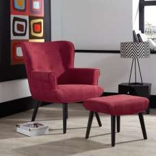 Tanwen Fabric Lounge Chair In Red With Wooden Legs