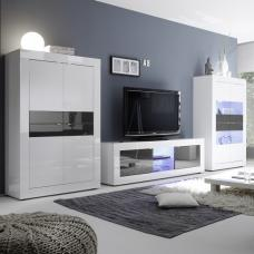Taylor Living Room Set In White Anthracite High Gloss With LED