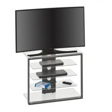 Terran TV Stand In Clear Glass And Anthracite Metal
