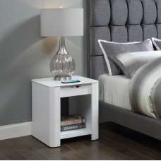 Terrence Smart Bedside Cabinet In White With Speaker