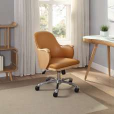 Terrence Faux Leather Office Chair In Tan And Ashwood Finish
