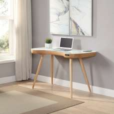 Terrence White Glass Top Laptop Desk In Ash Wood Finish