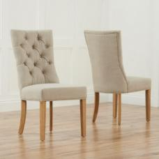 Tetras Fabric Dining Chair In Beige With Wooden Legs In A Pair