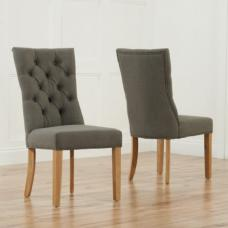 Tetras Fabric Dining Chair In Grey With Wooden Legs In A Pair