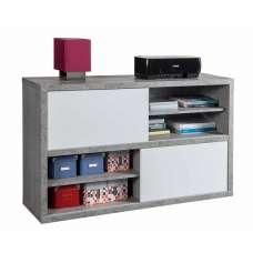 Theon Low Bookcase In Grey And White Gloss With Sliding Doors