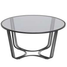 Thurston Glass Coffee Table In Clear With Metal Frame