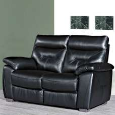 Tiana Contemporary 2 Seater Sofa In Black Faux Leather
