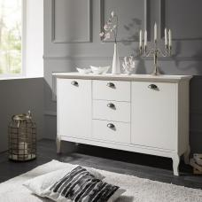 Tilton Wooden Sideboard In White With 2 Doors And 3 Drawers