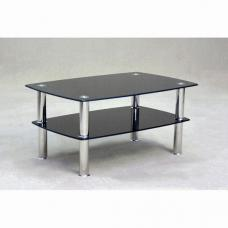 Pearl Black Glass Coffee Table With Undershelf