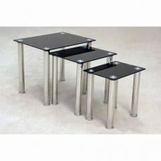 Pearl Black Glass Nest Of Tables With Chrome Legs