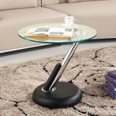 Tokyo Clear Glass Top Lamp Table In Black