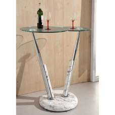 Tokyo Glass Bar Table In Clear And High Gloss Marble Effect Base