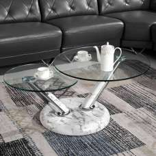 Tokyo Glass Coffee Table With High Gloss Marble Effect Base
