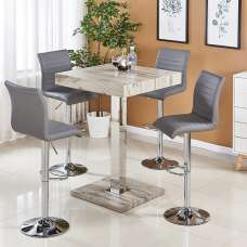 Topaz Bar Table In Grey Oak Effect With 4 Ripple Stools